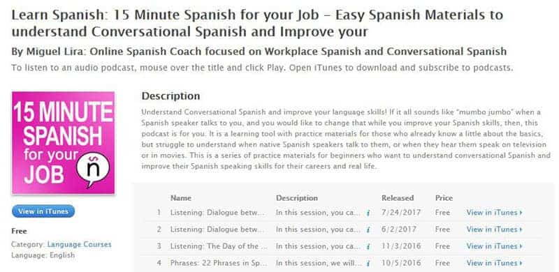 Learn Spanish 15-Minute Spanish for your job