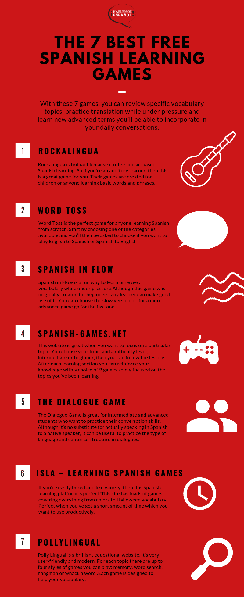 the 7 best free spanish learning games infographic