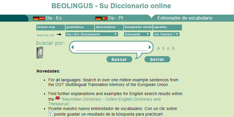 learn spanish dictionary online dictionary beolingus