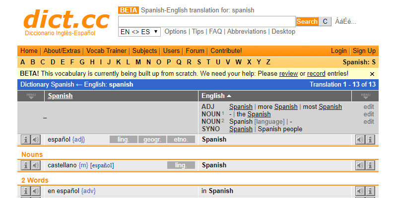 learn spanish dictionary online dictionary dictcc