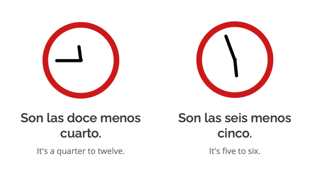 telling the time in Spanish example