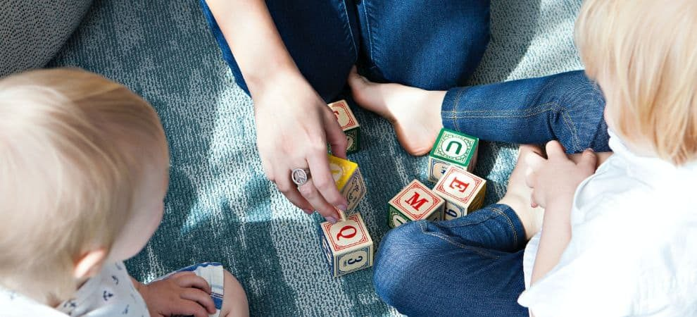 Mom playing Spanish games for kids